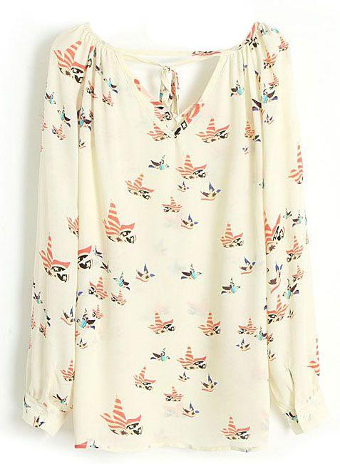 Blusa+gasa+estampada+pájaros-Beige+EUR€17.28