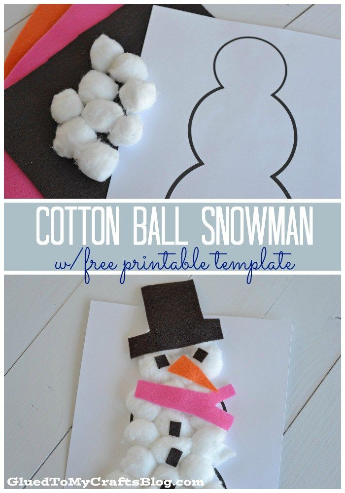 Cotton Ball Snowman Kid Craft w/free printable template