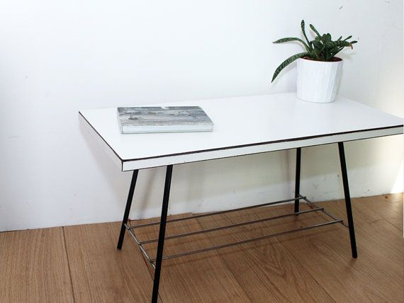 This Ever So Cute Little Vintage 1960s Formica Coffee Table Is Just Adorable With White Top And Black Metal Mid Century Living Room