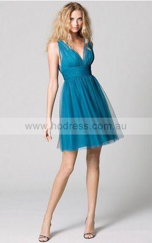 Sleeveless None Deep V-neck Knee-length Lace Formal Dresses b1400250