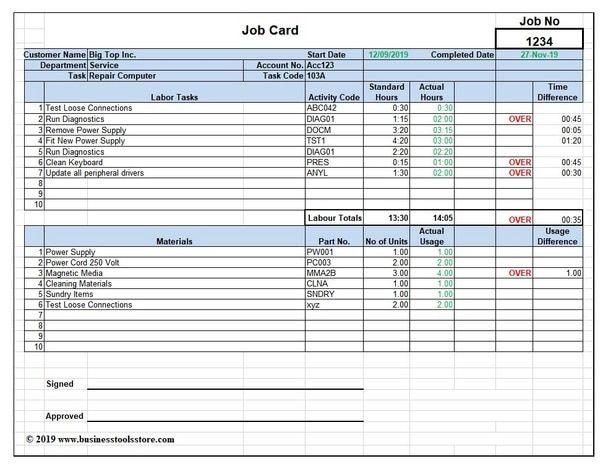 Workshop Job Card Labor Material Cost Estimator Quotation Excel Template Job Cards Quotation Format Excel Templates
