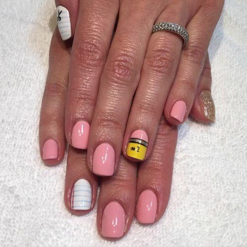 Back to School Nails for Wally  #teacher #nailart #eraserpink #heynicenails…
