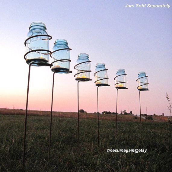 6 Garden Stake Mason Jar Outdoor Candle Holders, Solar Light Stakes Tall Decorative Wedding Lighting, Metal Mason Jar Lantern Patio Stake