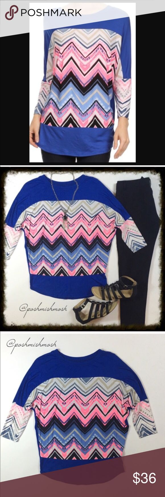 Blue and Pink Chevron Blouse Beautiful top.  A duo-fabric, relaxed fit, rounded top with a contrasting, zig-zag printed bodice and sleeves.  This is a very nice weight.  Not too heavy and not too light.  Perfect for every season.  95% Rayon, 5% Spandex Made In: USA. Tops