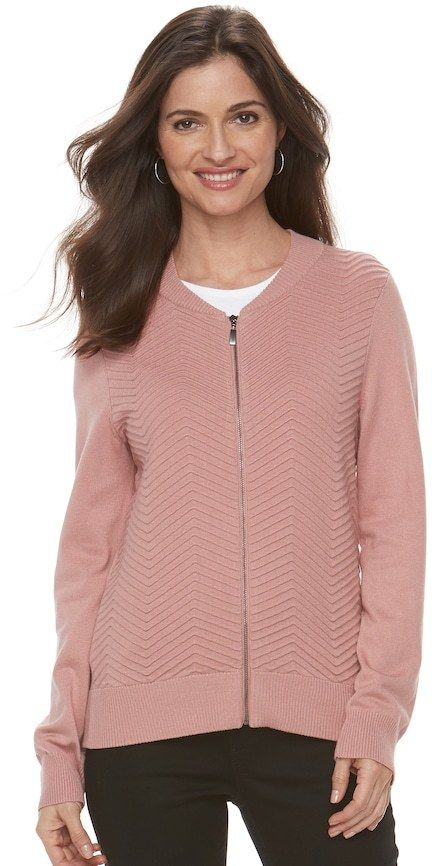 Croft & Barrow Women's Chevron Bomber Sweater