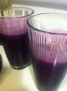 3 big handfuls of cut red cabbage  2 celery stalks  1 cucumber (peeled if waxed)  1 apple (without seeds)  Sooooo yummy!!!