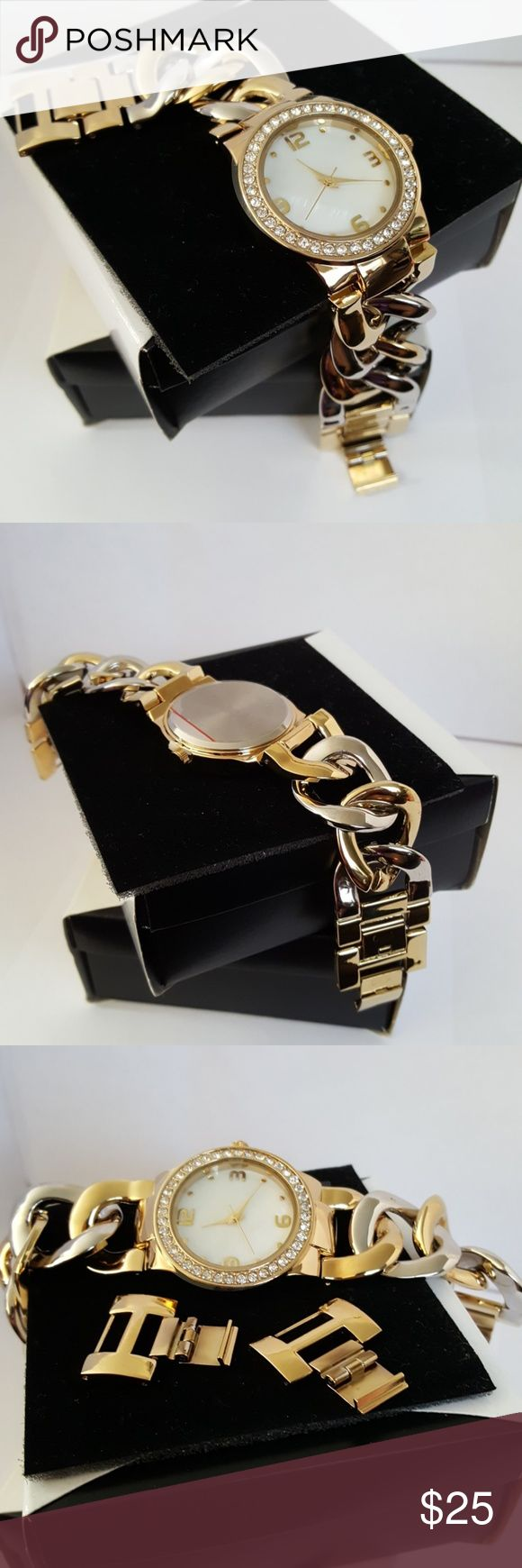 mark. by Avon All in Good Time Watch This GORGEOUS watch is fashion at its best! The two-tone chain link bracelet is adjustable with 2 removable links. The face features a pearlized face with diamondesque rhinestones surrounding. It has a nice heavy weight to it. Others will mistake it for a high end watch! You can't beat it! Questions?? Please feel free to ask! Happy Poshing!  **BRAND NEW** mark by Avon Accessories Watches