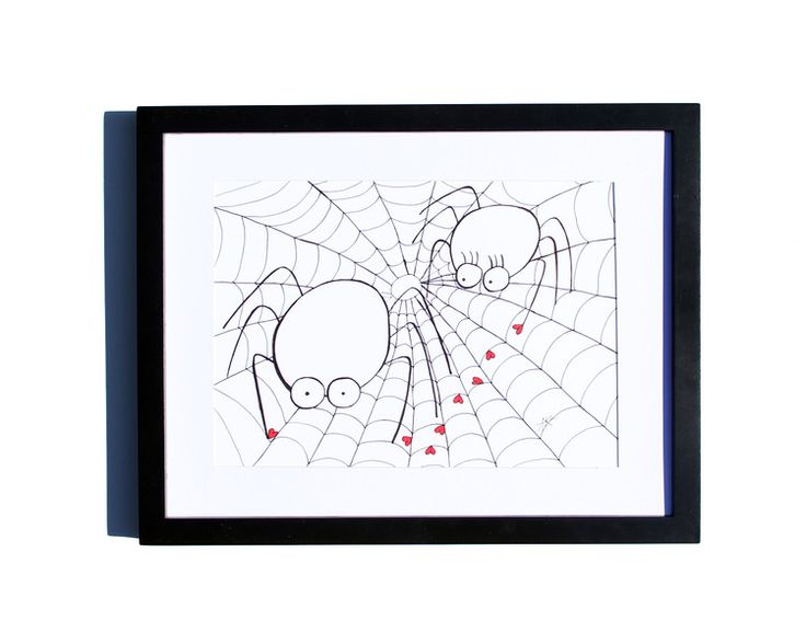 Fineliner – Drawing handmade 20x30cm: Spider in the web – a unique product by ARTandCAT on DaWanda