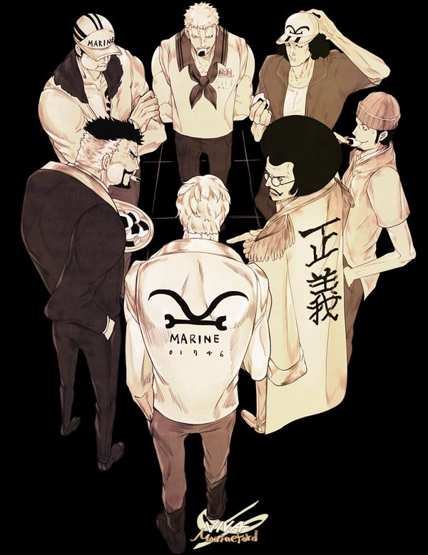One Piece: Borsalino, Rocinante, Kuzan, Garp, Sakazuki, Sengoku, and Smoker