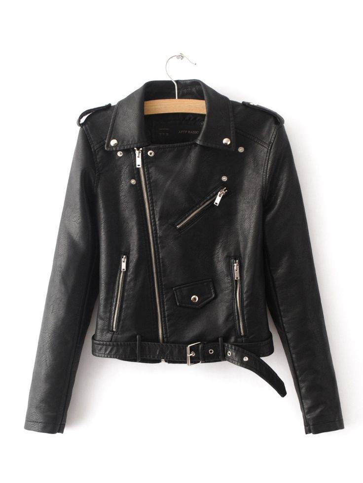 Shop BLack Faux Leather Belted Moto Jacket With Zipper online. SheIn offers  BLack Faux Leather Belted Moto Jacket With Zipper & more to fit your  fashionable ...