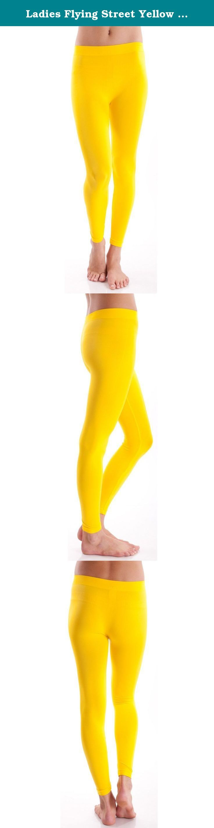 Ladies Flying Street Yellow Full Length Seamless Leggings. Ladies Yellow Flying Street Full Length Seamless Leggings. Solid color, Form-fitting, 92% Nylon, 8% Spandex.