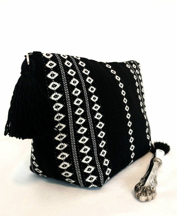 Boho Chic makeup bag, black cosmetic bag, boho chic toiletry bag for women, woven makeup bag, black and white, global makeup bag,women gift – Shopping
