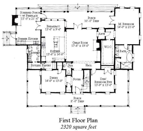 Country Historic House Plan 73877. First Floor ...
