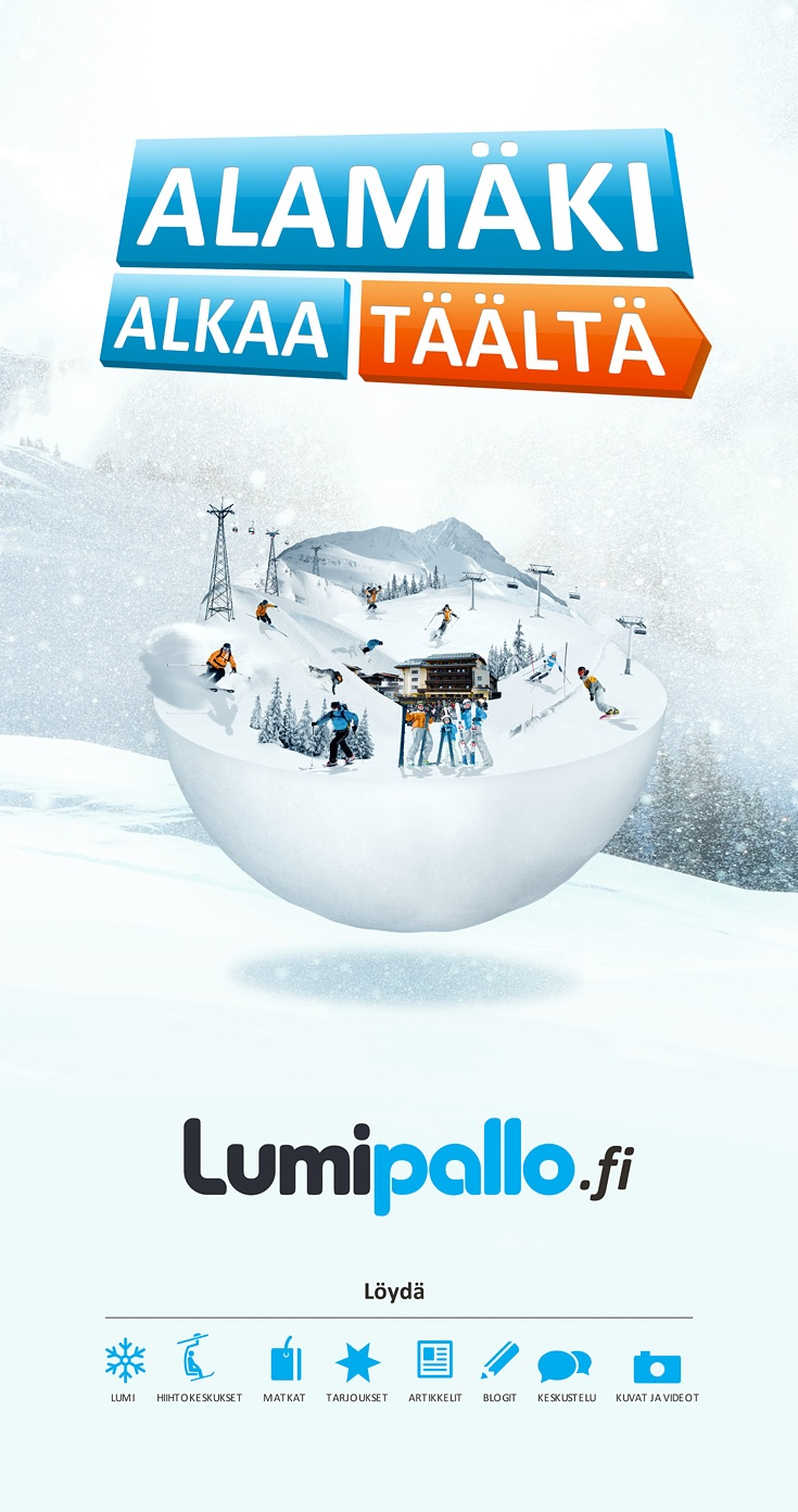 Logo design, corporate indentity and advertising consept for new downhill skiing and snowboarding online service Lumipallo - http://www.lumipallo.fi