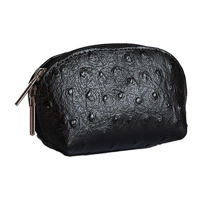 Black Ostrich Leather Coin Purse - Now with free UK postage!