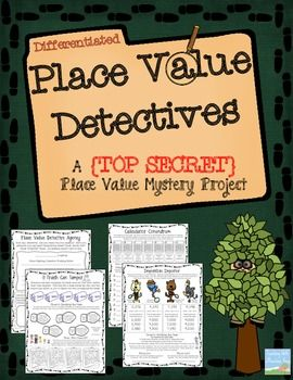 DIFFERENTIATED Place Value Project! Your students will love practicing their place value skills as a real life, crime-solving detective.  As the students start up their own detective agency, they must also solve 5 crimes that require them to use their place value skills. {4 of the pages have two different options to maximize your differentiation!)Check out the preview for a look at all 8 student work pages (Also includes 4 additional pages with larger numbers, up to the millions, for…