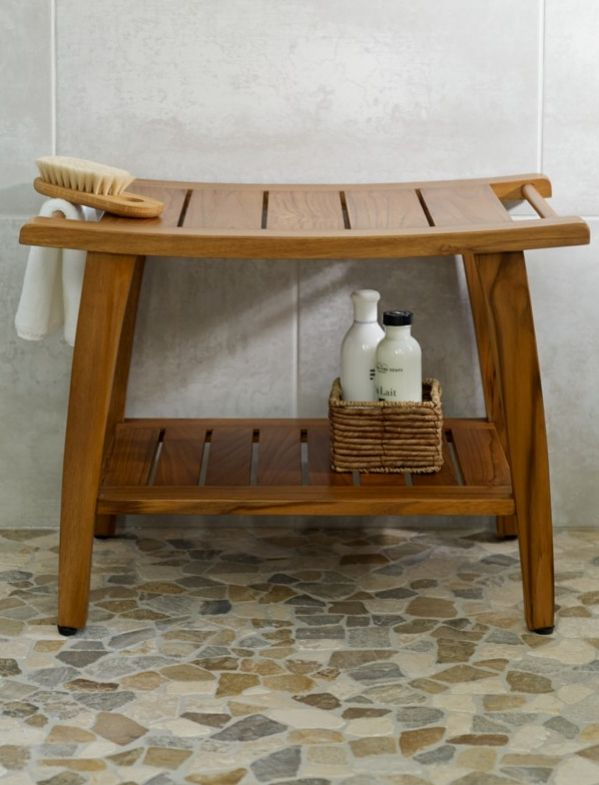 Our Gently Curved Teak Shower Bench Design Is Crafted From Solid Wood Valued For Its Remarkable Resistance To Moisture And Master Bath Showers