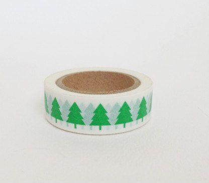 Washi Tape motivo alberelli di natale verdi su base bianca / alberi di Natale verde su bianco Washi Tape