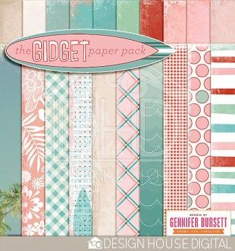 Gidget Digital Paper  By Gennifer Bursett