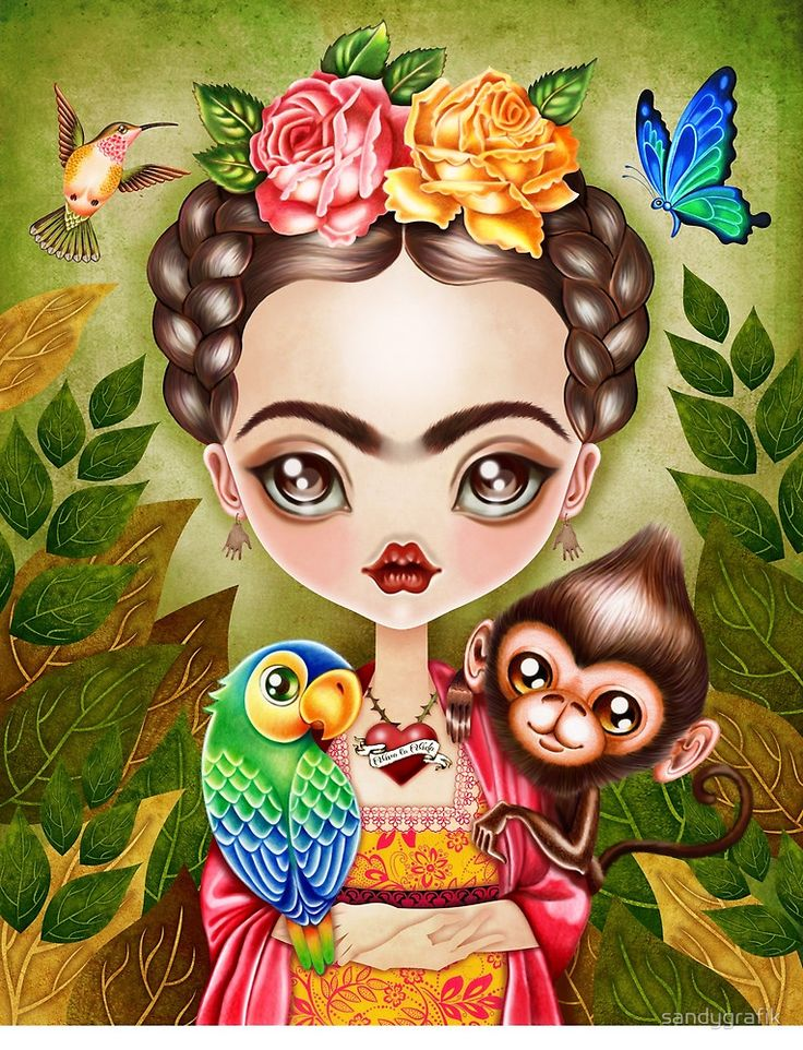 Frida Querida by sandygrafik - A wonderfully colored work showing Frida Kahlo with a parrot, a monkey, a hummingbird, and a butterfly.