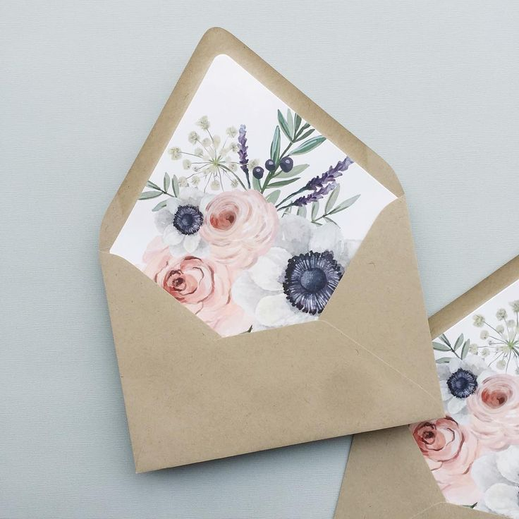anemone and rose envelope liner
