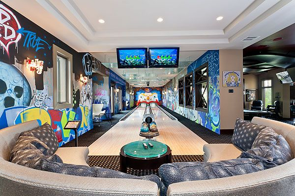 Another in home bowling alley idea - don't like the wall designs but love the rest