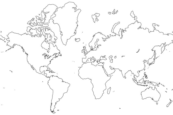 World Map - Simple line drawing