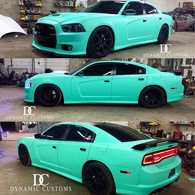 #mulpix 2014 Dodge Charger RT with SRT Conversion Wrapped in Tiffany Blue (Matte Vintage Green) with Gloss Black Accents. #DC #DynamicCustoms