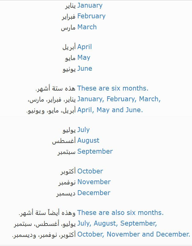 Months الشهور Learn English January February March Learning