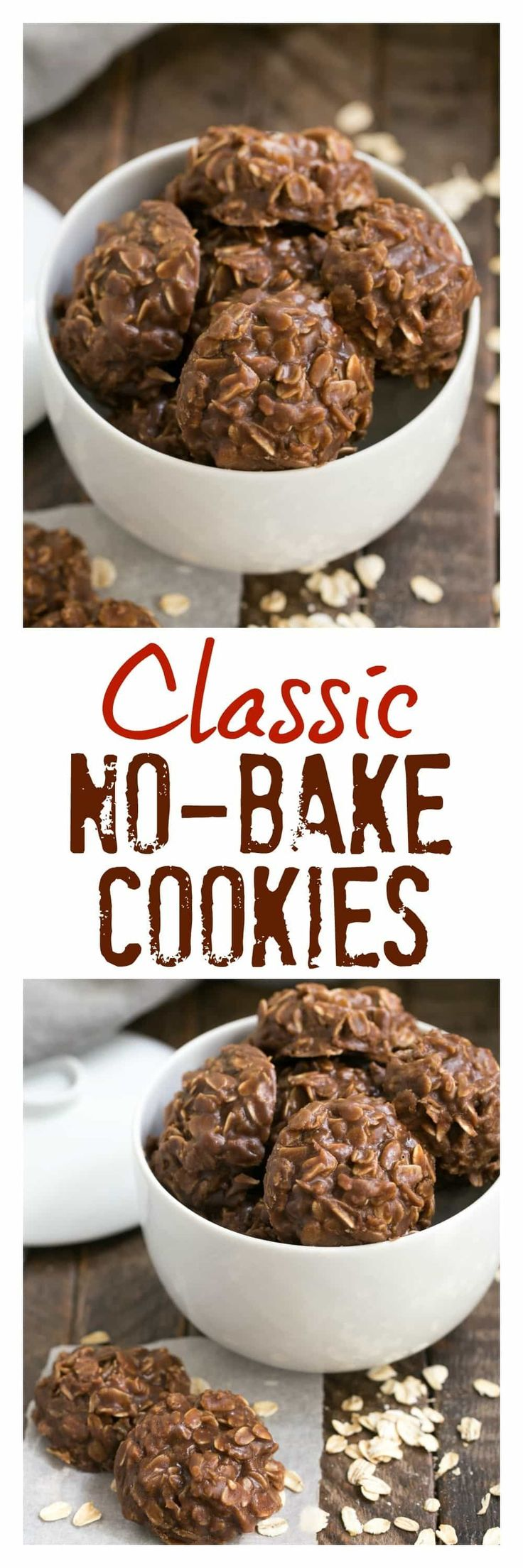 Classic Chocolate Peanut Butter No Bake Cookies | SO easy and always a hit! Plus no oven needed! #nobake #cookiessk