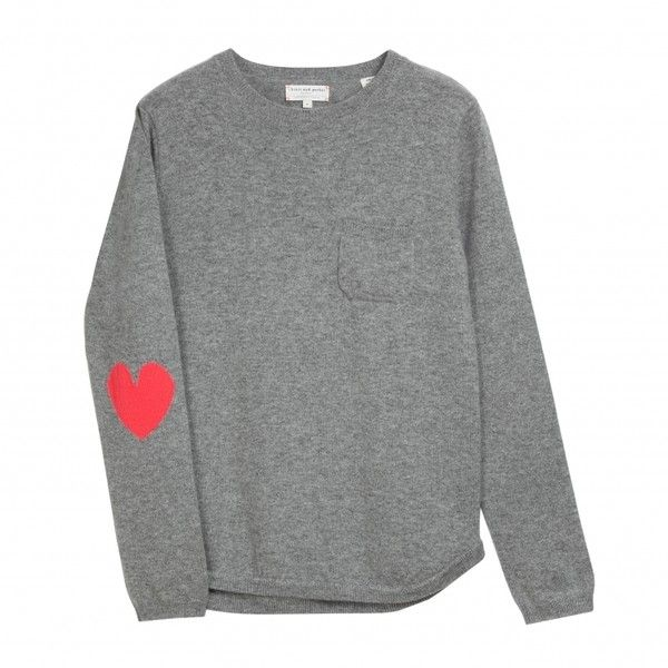 One Pocket Heart Elbow Sweater Chinti and Parker (1.550 BRL) ❤ liked on Polyvore featuring tops, sweaters, shirts, jumpers, grey shirt, pocket shirt, marled sweater, gray shirt and pink shirt