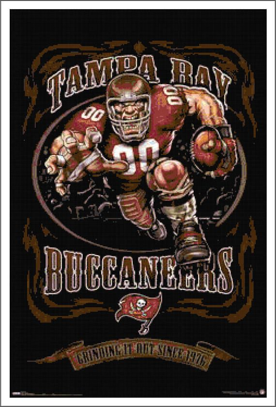 Tampa Bay Bucs Football Cross Stitch PDF Needlework Pattern - DIY Crossstitch Chart, Relaxing Hobby, Instant Download PDF Design