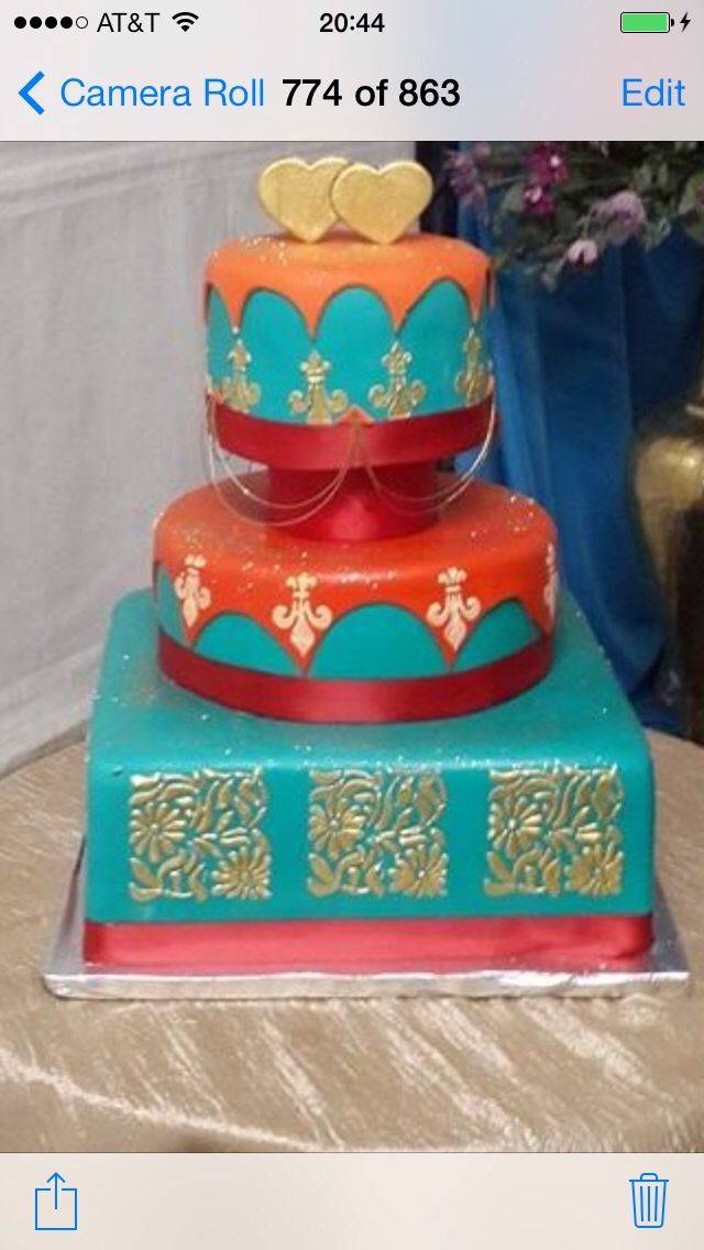 Indian themed wedding cake, traditional, red velvet and chocolate