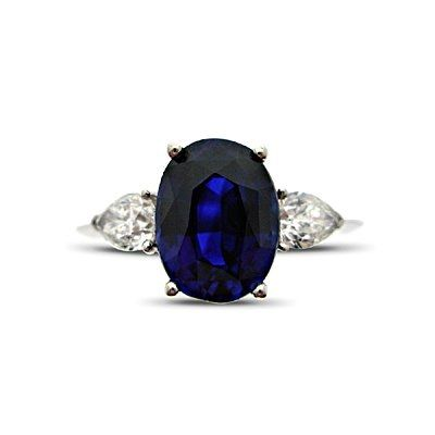 Sapphire Oval & Pear Shape Diamond Engagement Ring 2.95ct from Hatton Jewels