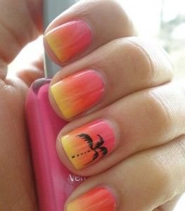 pink sunset nails