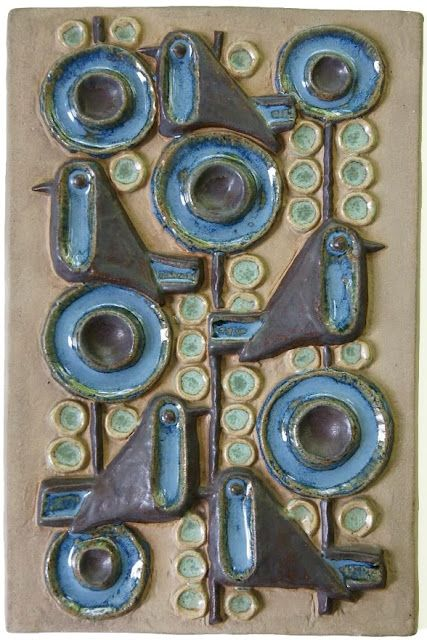 Ceramic plaque with stylized birds and branches by Marianne Starck (b. 1931), art director for the Danish pottery company Michael Andersen & Son