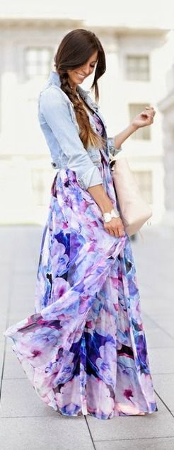 Bariano Special Effects Purple Floral Maxi Dress