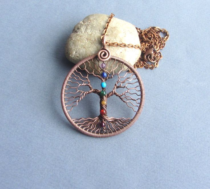 Tree of life necklace Chakra stone set Family tree pendant Copper anniversary gift for wife gift for her gift for girl Yoga gifts chakra crystals set 7 stones This Tree of Life is wire-sculptured with copper wire and Chakra Stones set. This original pendant Tree of Life will be a wonderful