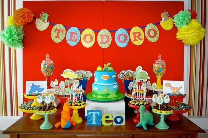 Colorful Dinosaur themed birthday party via Kara's Party Ideas KarasPartyIdeas.com Cake, decor, favors, printables, recipes, and more! #dinosaurparty #dinoparty (12)
