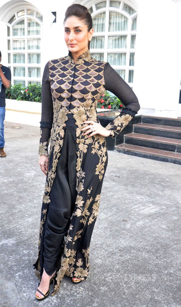 "Kareena Kapoor Khan was a pretty sight in black and gold Anamika Khanna Couture and strappy sandals at the launch of Channel V's ""Vith U"" app for the safety of women. #Fashion #Style #Bollywood #Beauty"
