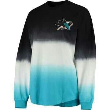 Women's San Jose Sharks Fanatics Branded Black/Teal Ombre Spirit Jersey Long Sleeve Oversized T-Shirt