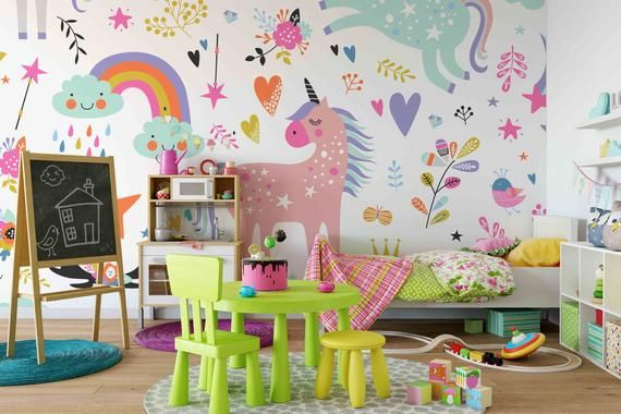 3d Unicorn Removable Wallpaperpeel And Stick Wall Mural Etsy Kids Wall Decals Nursery Wall Stickers Wall Murals