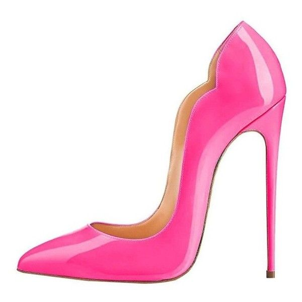 Hot Pink 4 Inch Heels Dress Shoes Pointy Toe Patent Leather Stiletto... ($60) ❤ liked on Polyvore featuring shoes, pumps, hot pink stilettos, pointed toe high heel pumps, patent leather dress shoes, pointed-toe pumps and ball shoes