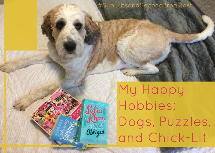 My Happy Hobbies: Dogs, Puzzles, and Chick-Lit    #SuburbsandSecondBreakfast #lifestyle #personal #blog #dogs #puzzles #chicklit #reading #hobbies #positivity #destress