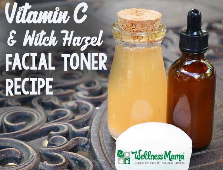 This Vitamin C & Witch Hazel Facial Toner Recipe uses anti-inflammatory and antimicrobial witch hazel and pH balancing Vitamin C + lavender.
