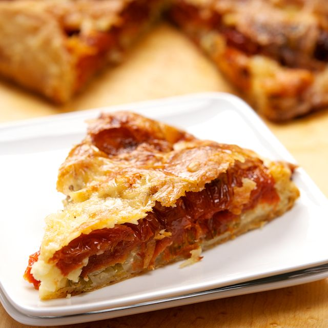 Roasted Tomato Tart - I would use a combo of regular and Light Cheddar to trim calories