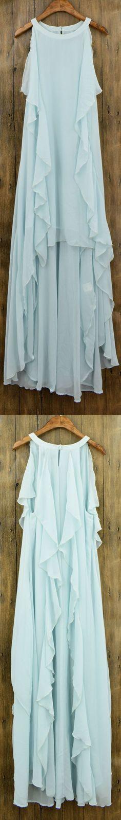 Women's Flounce Decor Sleeveless Asymmetric Chiffon Dress.Check more from www.azbro.com .
