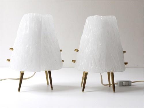1950s PAIR KALMAR BRASS & GLASS SIDE LAMPS ICE GLASS AUBOCK HAGENAUER ERA