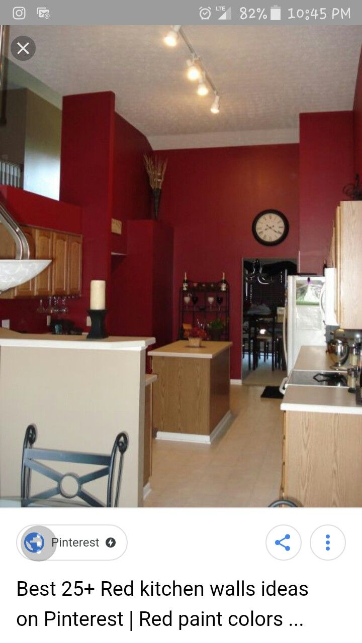 Pin By Ashley Carpenter On Kitchen Ideas Red Kitchen Walls Kitchen Wall Colors Kitchen Color Red