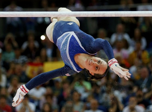 Beth Tweddle of Team GB competes in the women's gymnastics uneven bars final in the North Greenwich Arena during the London 2012 Olympic Games August 6, 2012.